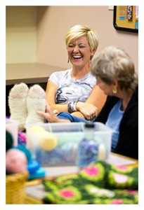 Women at Urban Yarns knitting club
