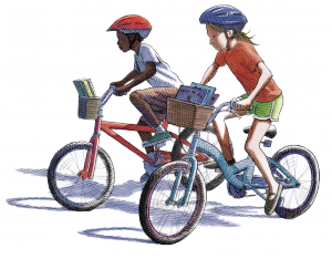 Illustration of children riding bicycles