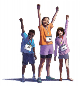 Illustration of children standing holding up arms after winning an event