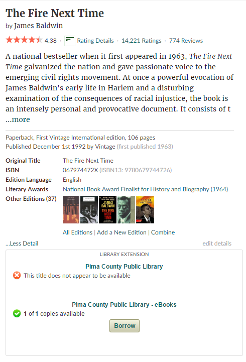 The extension will show below the book information in Goodreads.