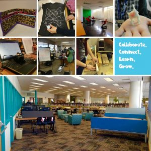 Collage of images of crafts, people, and furniture in the 101 space