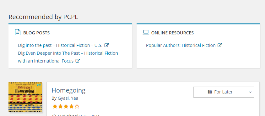 screenshot of Recommended by PCPL boxes in catalog search