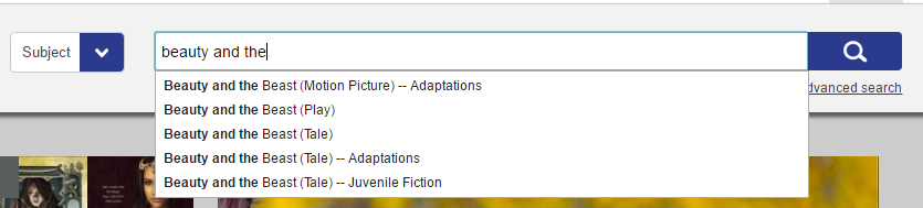 Screenshot of the search bar with a subject search for beauty and the beast