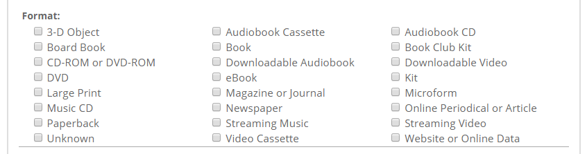 Screenshot of the format options in advanced search
