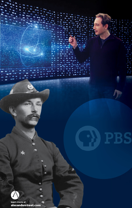 photo of soldier and science presenter with PBS logo