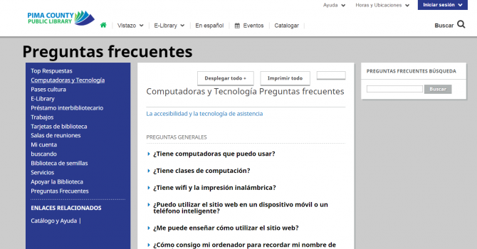 Image of FAQs page in Spanish