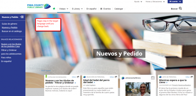Image of the New and On Order page in Spanish