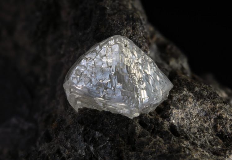 photograph of a raw uncut diamond