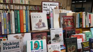 Display of dog books at Friends' Book Sale