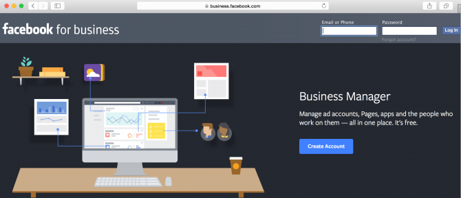 Screenshot of login page for Facebook Business Manager
