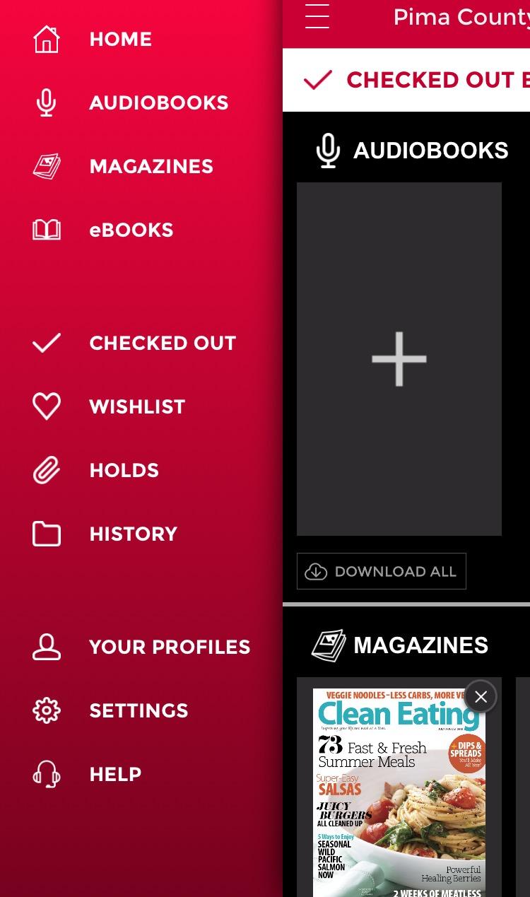 Screenshot of RBdigital app menu