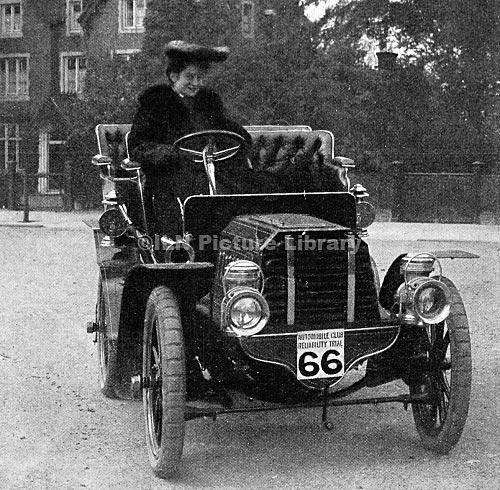 Photograph of Dorothy Levitt in a car