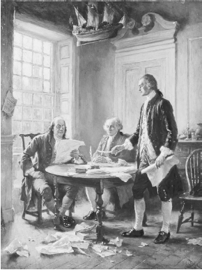 black and white photo of painting of Thomas Jefferson, John Adams, and Benjamin Franklin