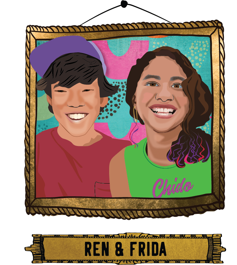 Frida & Ren with nameplate
